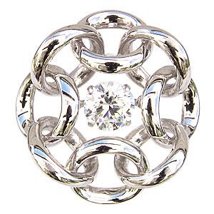 ブローチ メンズ サークル K18WG ホワイトゴールド 一粒 ダイヤモンド 0.50ct タイニーピン ダンシングストーン トゥインクルセッティング 送料無料 クリスマス アンティーク調 バレンタイン