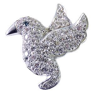ダイヤモンド ブルーダイヤモンド 鳥 バード ブローチ ラペルピン タイニーピン ピンズ ピンブローチ ダイヤモンド ブルーダイヤ ホワイトゴールド 送料無料 誕生日 ホワイトデー 記念日 プレゼント ギフト
