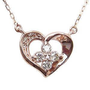 母の日 2019 ハートモチーフ ダイヤモンド ペンダント ネックレス ピンクゴールド K18 ダイヤ 0.10ct