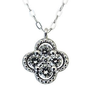 ペンダントネックレス ダイヤモンド ネックレス 0.20ct K18 ホワイトゴールド 四つ葉のクローバー/フラワー ペンダントチェーン付き 送料無料