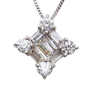 母の日 2019 ダイヤモンド ペンダントネックレス ダイヤモンドネックレス ダイヤ バケット 0.30ct ホワイトゴールド K18WG ペンダント チェーン付き 送料無料 クリスマス 誕生日 ホワイトデー 記念日 ギフト対応