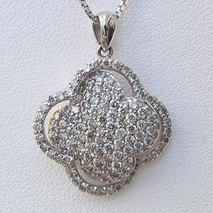 ダイヤモンド ペンダント ネックレス K18WG ホワイトゴールド ベネチアンチェーン付 送料無料