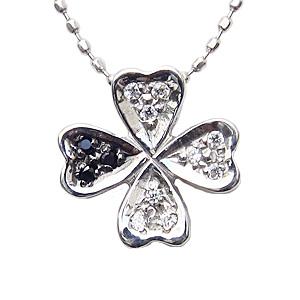母の日 2019 ダイヤモンド 四つ葉のクローバー ネックレス K18 ホワイトゴールド ペンダント