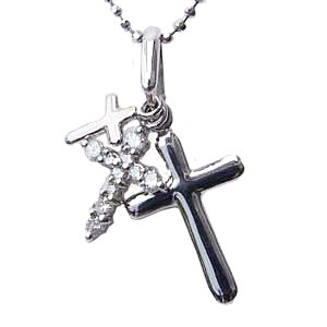 母の日 2019 クロス ダイヤモンド ペンダント ホワイトゴールド ネックレス 十字架