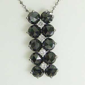 ダイヤモンド ペンダントトップ ブラックダイヤモンド K18WG ホワイトゴールド 送料無料