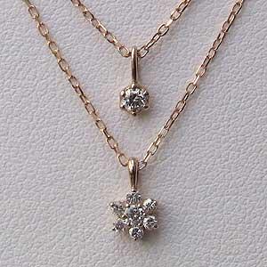 母の日 2019 フラワー ダイヤモンド ペンダント ネックレス K18PG ピンクゴールド