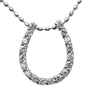 ダイヤモンドネックレス 贈り物 馬蹄 ホースシュー ネックレス 贈り物 0.15ct ホワイトゴールド 送料無料 カジュアル