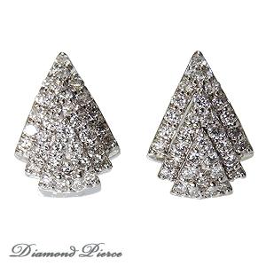ダイヤモンド ピアス ダイヤ 0.64カラット ダイヤモンドピアス ダイヤピアス 18金 K18WG ホワイトゴールド パヴェピアス 品質保証書付 ケース付 送料無料 プレゼント ギフト 4月誕生石