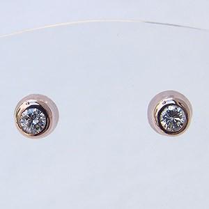 ダイヤモンド ピアス K18PG ピンクゴールド シリコンキャッチ付 送料無料