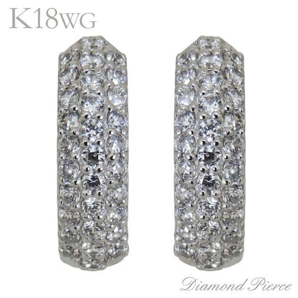 ピアス 中折れフープタイプ 62石 パヴェ ダイヤモンド K18ホワイトゴールド レディース 普段使い