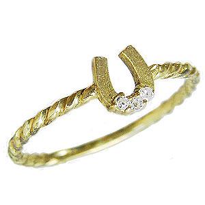ホースシュー 馬蹄 ダイヤモンドリング ピンキーリング K18 ゴールド 18金 ダイヤモンド0.02ct 指輪 ラッキーモチーフ カジュアル 送料無料