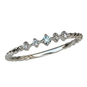 ブルーダイヤモンドリング ダイヤモンド マリッジリング K18 ホワイトゴールド 結婚指輪 送料無料