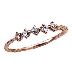 母の日 2019 K18 ダイヤモンド リング ピンクゴールドリング 指輪 0.16ct ダイヤモンド