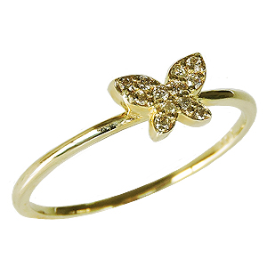 ダイヤモンドリング ダイヤリング ピンキーリング ダイヤモンド指輪 ダイヤモンド 0.06ct バタフライ 蝶 K18 ゴールド 18金 送料無料 レディース ジュエリー 4月誕生石 誕生日プレゼント クリスマスプレゼント ホワイトデー 記念日