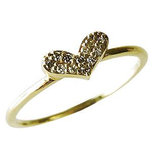 ダイヤモンドリング ハートリング ピンキーリング ダイヤモンド指輪 ダイヤモンド 0.06ct ハート K18 ゴールド 18金 送料無料 レディース ジュエリー 4月誕生石 誕生日プレゼント クリスマスプレゼント ホワイトデー 記念日 カジュアル