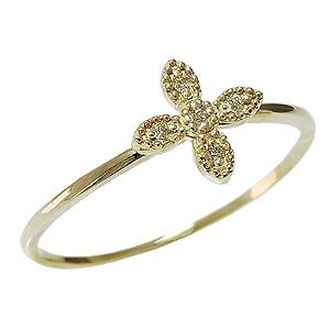 ダイヤモンドリング ピンキーリング ダイヤリング クロスリング 十字架 ダイヤモンド指輪 ダイヤモンド 0.02ct K18 ゴールド 18金 送料無料 レディース ジュエリー 4月誕生石 誕生日プレゼント クリスマスプレゼント ホワイトデー 記念日 カジュアル