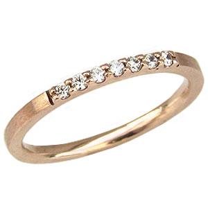 ピンキーリング ダイヤモンド リング 指輪 リング ピンクゴールド K18 ダイヤモンド 0.07ct 送料無料