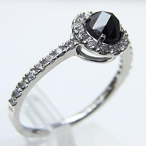 指輪ダイヤモンド リング 一粒 ブラックダイヤモンド ホワイトゴールド 指輪 プレゼント 送料無料 カジュアル