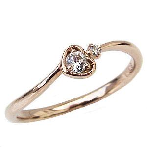 ハート ダイヤモンド リング 指輪 ハートモチーフ ピンキーリング ピンクゴールド K18 ダイヤモンド 0.08ct カジュアル 送料無料