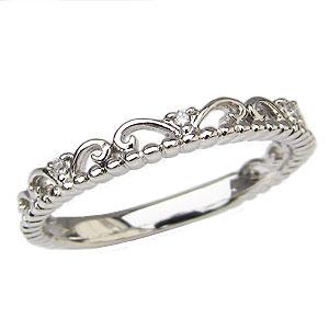 ダイヤモンドリング ティアラリング 王冠 ダイヤモンド 指輪 ダイヤ 0.02ct K18 ホワイトゴールド 送料無料