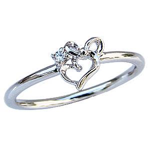 ダイヤモンドリング ピンキーリング ダイヤモンド指輪 ダイヤモンド 一粒 ハートモチーフ リボンモチーフ プラチナ PT900 送料無料