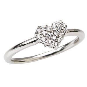 ハートリング ダイヤモンドリング ピンキーリング ダイヤモンド指輪 プラチナ ダイヤモンド 0.10ct ハートモチーフ カジュアル 送料無料