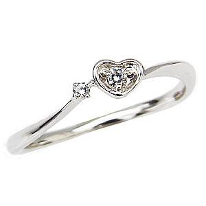 ハートリング ダイヤモンドリング ピンキーリング プラチナ 指輪 ダイヤモンド 0.03ct ハートモチーフ 送料無料