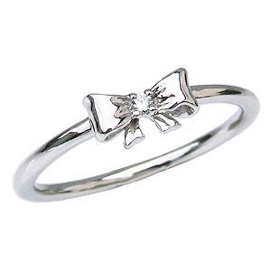 ダイヤモンドリング ピンキーリング リボンモチーフ プラチナ 指輪 ダイヤモンド 0.01ct カジュアル 送料無料