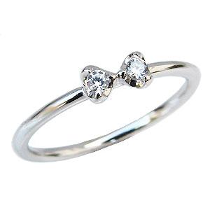 ダイヤモンドリング ピンキーリング リボンモチーフ 指輪 プラチナ PT900 ダイヤモンド 0.06ct