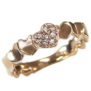 ハート ダイヤモンド リング 指輪 ハートモチーフ ピンクゴールド K18 ダイヤモンド 0.06ct カジュアル 送料無料