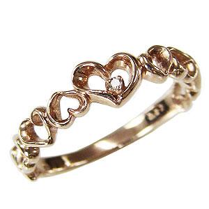 ハートリング ダイヤモンドリング 指輪 ハートモチーフ ピンクゴールド K18 一粒 ダイヤモンド カジュアル 送料無料