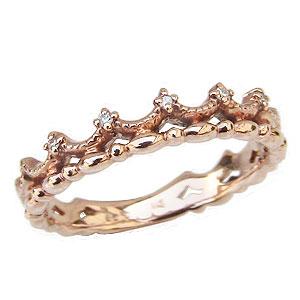 ダイヤモンドリング ティアラリング 王冠 ダイヤモンド K10 ピンクゴールド 指輪 ダイヤ 0.03ct 送料無料
