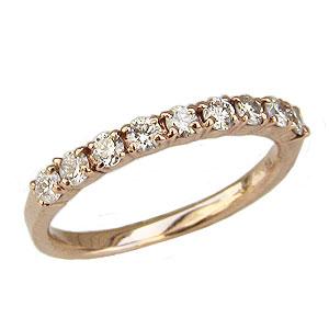 ピンキーリング ダイヤモンドリング ハーフエタニティリング 指輪 ピンクゴールド K10 ダイヤモンド 0.30ct ファランジリング ミディリング 間接リング 送料無料