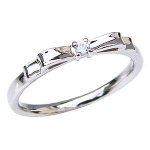 ダイヤモンド リング リボンモチーフ ダイヤモンド 指輪 ダイヤ 0.02ct K18 ホワイトゴールド 送料無料