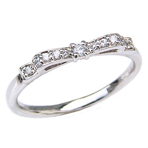 ダイヤモンド リング リボンモチーフ ダイヤモンド 指輪 ダイヤ 0.08ct K18 ホワイトゴールド カジュアル 送料無料