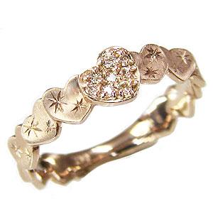 ハートリング ダイヤモンドリング 指輪 ハートモチーフ ピンクゴールド K10 ダイヤ 0.06ct 送料無料