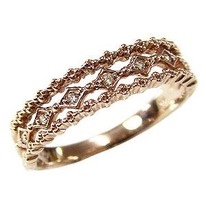ダイヤモンド リング ダイヤ 指輪 ピンクゴールド K10 アンティーク ダイヤモンド 0.04ct 送料無料