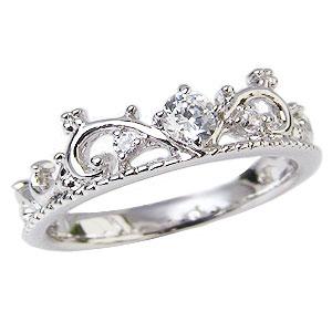 母の日 2019 ピンキーリング ダイヤモンドリング ティアラリング 王冠 ダイヤモンド 指輪 ダイヤ 0.12ct ホワイトゴールド