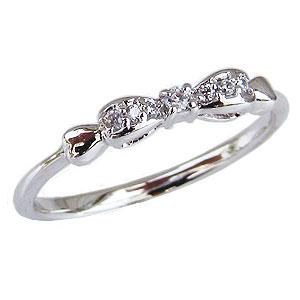 母の日 2019 リボンリング ダイヤモンドリング リボンモチーフ ダイヤモンド 指輪 ダイヤ 0.05ct プラチナ PT900 りぼん