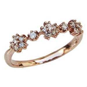 母の日 2019 ダイヤモンドリング ダイヤ フラワー 花 指輪 ピンクゴールド K10 ダイヤモンド 0.12ct