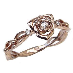 ダイヤモンドリング 薔薇モチーフ 指輪 バラ ピンクゴールド K18金 フラワー 花 ダイヤモンド 送料無料 ラッピング無料 レディース