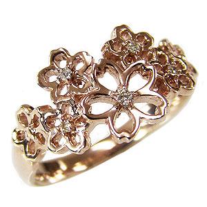 ダイヤモンドリング ダイヤモンド 指輪 花 フラワー モチーフ 桜 サクラ ピンクゴールド K10 送料無料