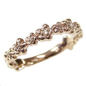 ダイヤモンドリング ダイヤ フラワー 花 指輪 ピンクゴールド K18 ダイヤモンド 0.05ct 送料無料 カジュアル