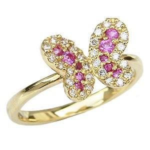ダイヤモンド ピンキーリング ピンクサファイア リング 蝶 バタフライ 指輪 K18 イエローゴールド プレゼント 送料無料 カジュアル