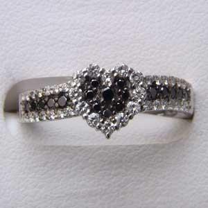 指輪ダイヤモンド リング ブラックダイヤ ハート K18WG 指輪 カジュアル