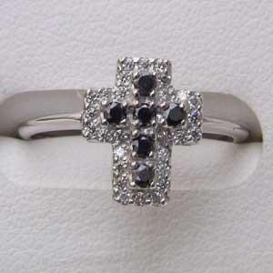 母の日 2019 指輪 ダイヤモンド リングブラックダイヤ K18WG ホワイトゴールド クロス