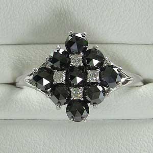 指輪ダイヤモンド リング 一粒 ブラックダイヤモンド K18WG ホワイトゴールド 指輪 カジュアル