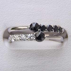 指輪ダイヤモンド 一粒 ブラックダイヤモンド リング K18WG ホワイトゴールド 指輪 カジュアル