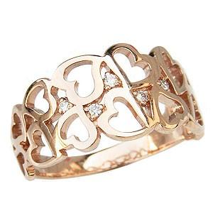 母の日 2019 ハート ダイヤモンド リング 指輪 ハートモチーフ ピンクゴールド K18