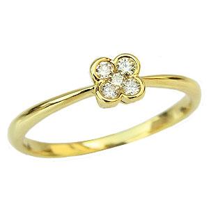 ダイヤモンド リング ピンキーリング 指輪 クローバーモチーフ イエローゴールド K18 カジュアル 送料無料